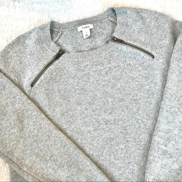 CASLON Zipper Detail Crewneck Knit Sweater